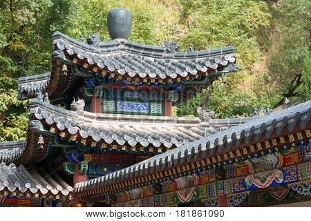 Xian, China - Nov 2 2014: Roof At Xingjiao Temple(unesco World Heritage Site). A Famous Temple In Xi