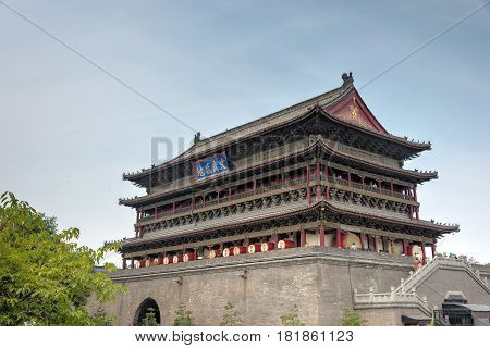 Xian, China - Jun 22 2014: Xian Dram Tower. A Famous Landmark In The Center Of The Ancient City Of X