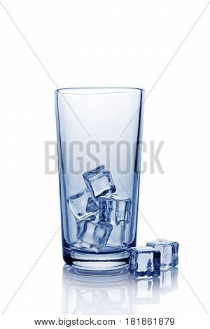 Empty Glass For Cola With Ice Cube
