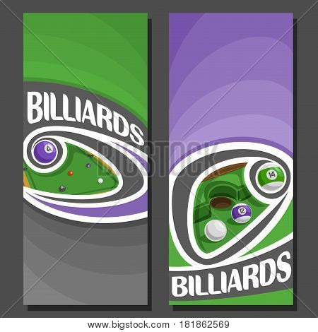 Vector vertical Banners for Billiards: 2 layouts for title text on billiards theme, ball flying on curve trajectory on pool table, abstract banner for snooker on purple background, games invite ticket