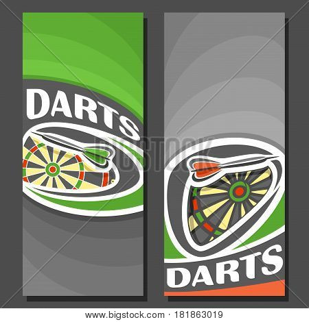 Vector vertical Banners for Darts: 2 layouts for title text on darts theme, dartboard and arrow, abstract banner for inscriptions on grey background, sports invite ticket with green graphic backdrop.