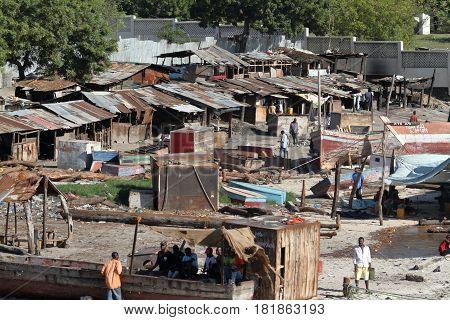 The harbor slums of Dar Es Salaam in Tanzania,30. September 2012