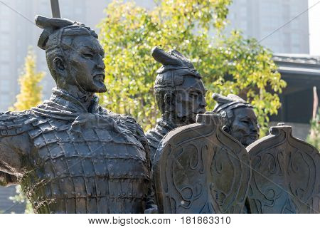 Xian, China - Oct 25 2014: Statues Of Soldier At Tomb Of The Second Emperor. A Famous Historic Sites