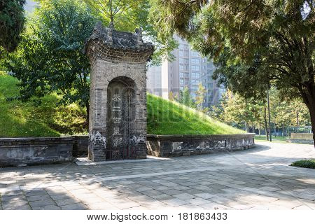 Xian, China - Oct 25 2014: Tomb Of The Second Emperor. A Famous Historic Sites In Xian, Shaanxi, Chi