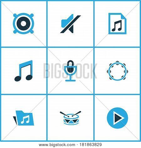 Music Colored Icons Set. Collection Of Microphone, Playlist, Drum And Other Elements. Also Includes Symbols Such As Play, Percussion, File.