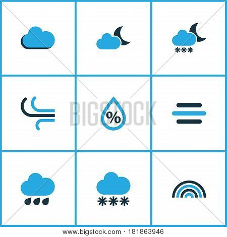 Weather Colored Icons Set. Collection Of Blizzard, Rainfall, Snowfall And Other Elements. Also Includes Symbols Such As Rainbow, Gust, Humidity.