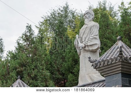 Shaanxi, China - Oct 13 2014: Statue Of Zhang Sanfeng At Jintai Temple, Baoji, Shaanxi, China. Zhang