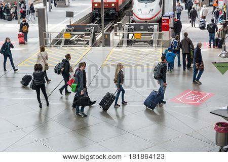 Passengers Crowded On The Platform Of Hauptbahnhof, The Main Railway Station
