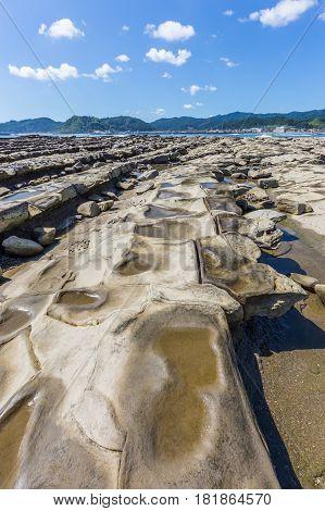 Devil's Washboard Coastline And Beach In Aoshima Island, Miyazaki, Japan