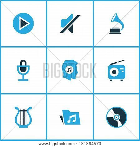 Multimedia Colored Icons Set. Collection Of Folder, Play, Harp And Other Elements. Also Includes Symbols Such As Play, Dossier, Instrument.