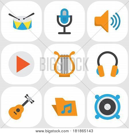 Music Flat Icons Set. Collection Of Acoustic, Ear Muffs, Button And Other Elements. Also Includes Symbols Such As Band, Percussion, Earmuff.
