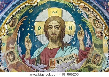Pantocrator - Mosaic On The Inside Of The Central Dome. The Inscription Means