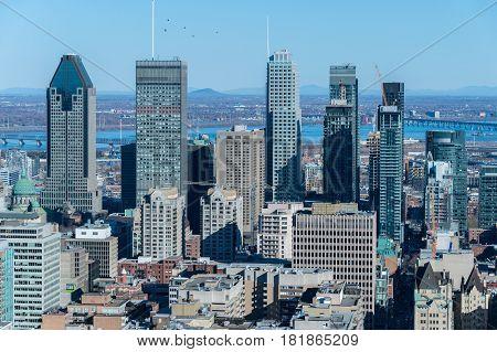 Montreal Canada - 14 April 2017: Montreal Skyline in spring from Kondiaronk Belvedere