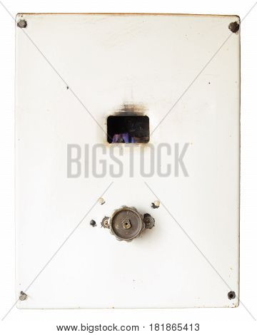Fired up old russian gas water heater with flat front panel isolated on white background