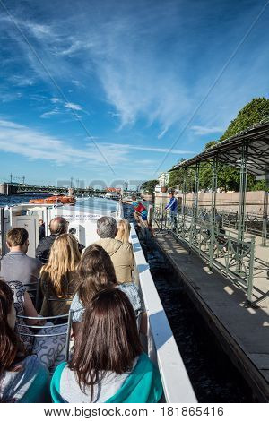 Many Tourists Enjoy Boat Trips In St. Petersburg