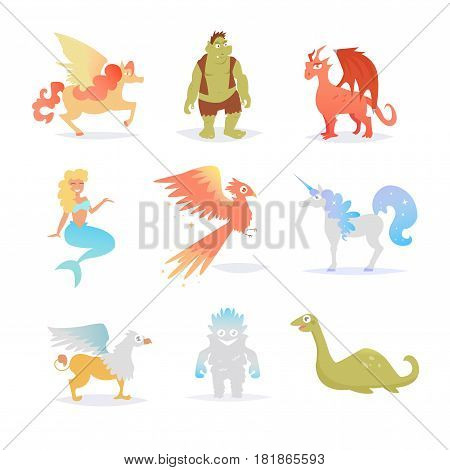 Mythological and fairy creatures. Pegasus, Troll, dragon, unicorn, Phoenix, mermaid, Griffin, bigfoot, Loch ness monster Isolated art on white background Vector Cartoon Flat Set