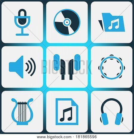 Multimedia Colored Icons Set. Collection Of Headset, Microphone, Headphone And Other Elements. Also Includes Symbols Such As Dossier, Headset, Percussion.