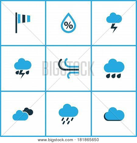Meteorology Colored Icons Set. Collection Of Thunderstorm, Wind Speed, Rainfall And Other Elements. Also Includes Symbols Such As Rainfall, Cloudy, Rain.