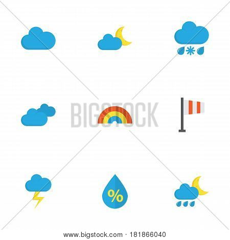 Climate Flat Icons Set. Collection Of Banner, Overcast, Cloud And Other Elements. Also Includes Symbols Such As Cloud, Snow, Drip.