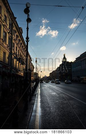 Night Nevsky Prospekt With A Silhouette Of The Home Of