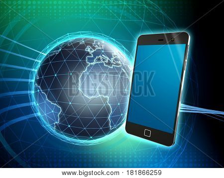 Smartphone over an high technology background. 3D illustration.