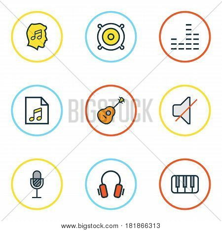 Multimedia Colored Outlines Set. Collection Of Mixer, Strings, Amplifier And Other Elements. Also Includes Symbols Such As Soundtrack, Speaker, Guitar.