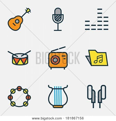 Multimedia Colored Outlines Set. Collection Of Amplifier, Mixer, Strings And Other Elements. Also Includes Symbols Such As Drum, Tambourine, Amplifier.