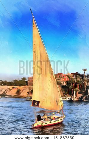 Colorful painting of yacht on the Nile, Aswan, Egypt