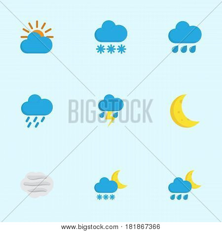 Nature Flat Icons Set. Collection Of Hailstones, Frosty, Snow And Other Elements. Also Includes Symbols Such As Rain, Snow, Outbreak.