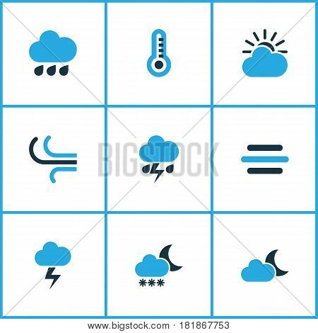 Meteorology Colored Icons Set. Collection Of Rainfall, Thunderstorm, Blizzard And Other Elements. Also Includes Symbols Such As Storm, Snow, Sun.