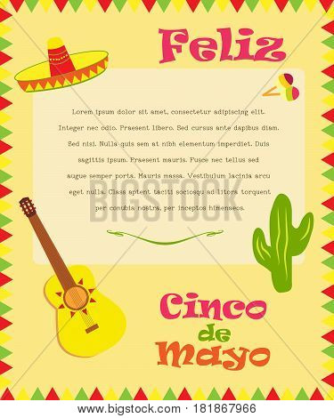 Banner for Cinco De Mayo. Poster design with available place for holiday celebration at a bar, restaurant or other venue