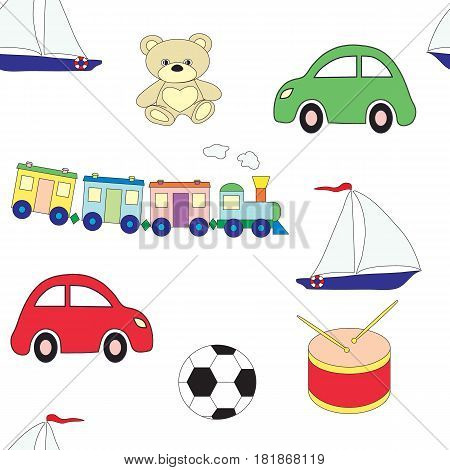 Seamless pattern with children's toys for boys on a white background. Vector picture