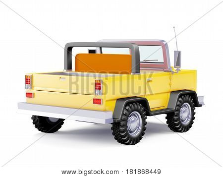 Yellow safari suv back view in retro cartoon style isolated on white. 3d illustration.