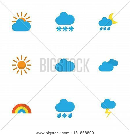 Meteorology Flat Icons Set. Collection Of Sun, The Flash, Drizzles And Other Elements. Also Includes Symbols Such As Shower, Hailstones, Cloudy.