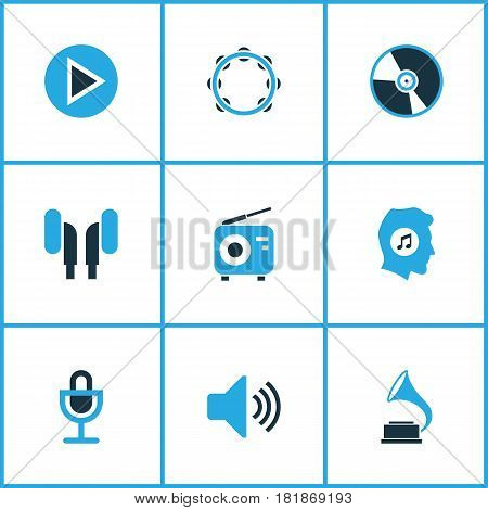 Music Colored Icons Set. Collection Of Radio, Volume, Microphone And Other Elements. Also Includes Symbols Such As Mike, Earmuff, Tuner.