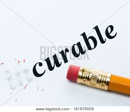 Word and pencil with eraser close-up Increased focus area