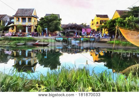 Colorful painting of evening landscape in Hoi An, Thu Bon River, Vietnam