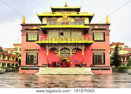 Colorful painting of Shechen tibetan monastery, Kathmandu, Nepal