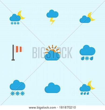 Climate Flat Icons Set. Collection Of Crescent, The Flash, Frosty And Other Elements. Also Includes Symbols Such As Snow, Winter, Flag.