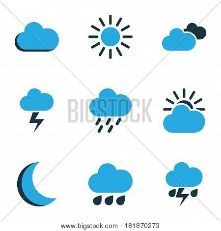 Meteorology Colored Icons Set. Collection Of Overcast, Rainstorm, Lightning And Other Elements. Also Includes Symbols Such As Sun, Sunny, Rainstorm.