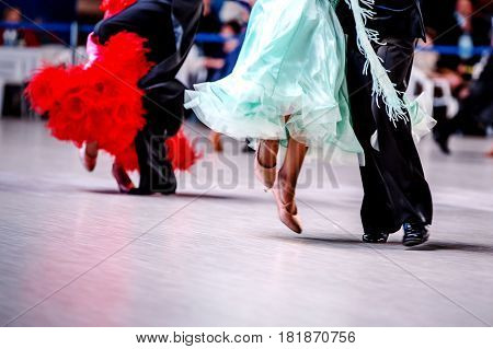 pairs of dancers athletes indoors dance competitions