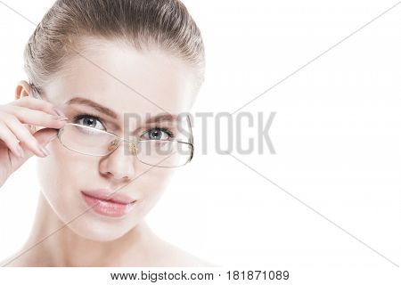 Portrait of young perfect woman in glasses isolated on white background