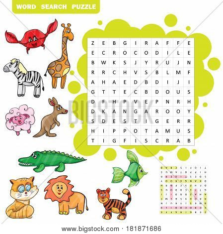 Vector education game for children about animals Word search puzzle