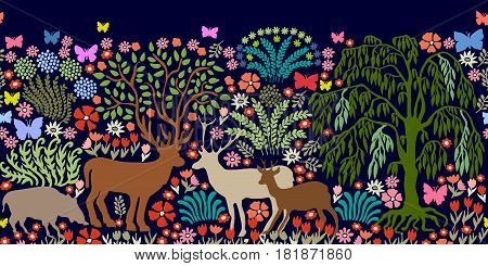 Seamless vector border with magic animals and trees. Deers, roes, boars, plants.