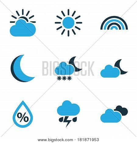 Climate Colored Icons Set. Collection Of Sunny, Blizzard, Night And Other Elements. Also Includes Symbols Such As Arc, Humidity, Moonlight.