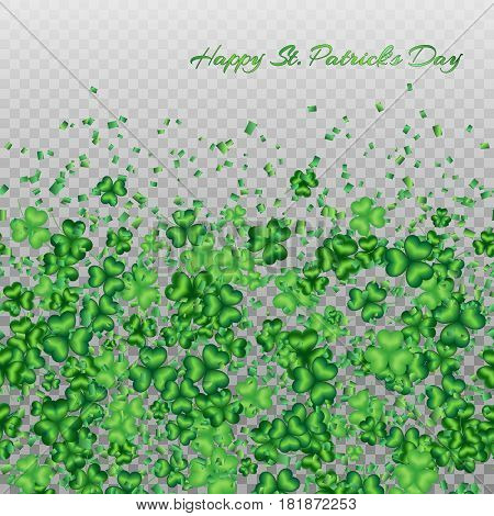 St. Patricks Day background with a pattern of shamrocks on a transparent backdrop