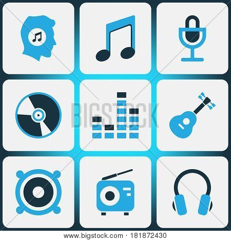 Multimedia Colored Icons Set. Collection Of Headset, Note, Mixer And Other Elements. Also Includes Symbols Such As Megaphone, Cd, Microphone.