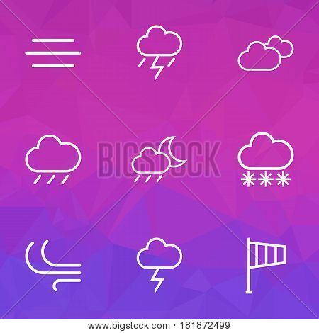 Meteorology Outlines Set. Collection Of Windsock, Breeze, Rainstorm And Other Elements. Also Includes Symbols Such As Snowy, Line, Weather.