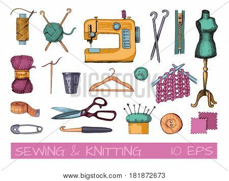 Sketches of sewing and needlework. Vector illustration of tools and materials