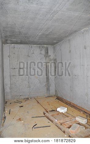 Building House Concrete Storage Cellar or Tornado Shelter Interior Room.